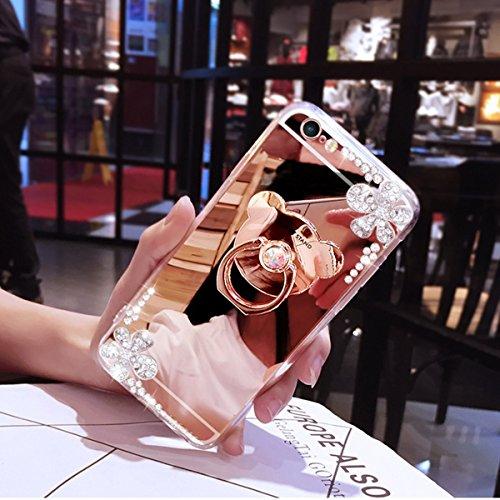 Kompatibel mit Galaxy S6 Edge Plus Hülle JAWSEU Glänzend Glitzer Strass Diamant Überzug Spiegel Handyhülle TPU Silikon Hülle Schutzhülle Handytasche für Galaxy S6 Edge Plus - Rose Gold