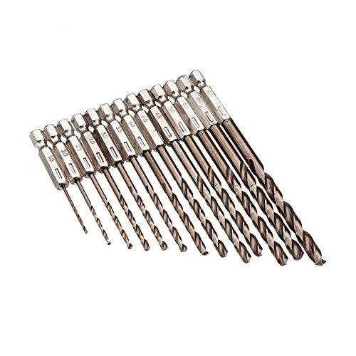 Comfortable 13pcs 1.5-6.5mm M35 Cobalt Drill Bit Twist Drill Bit Set 1/4 Inch Hex Shank Strong (Color : Silver)