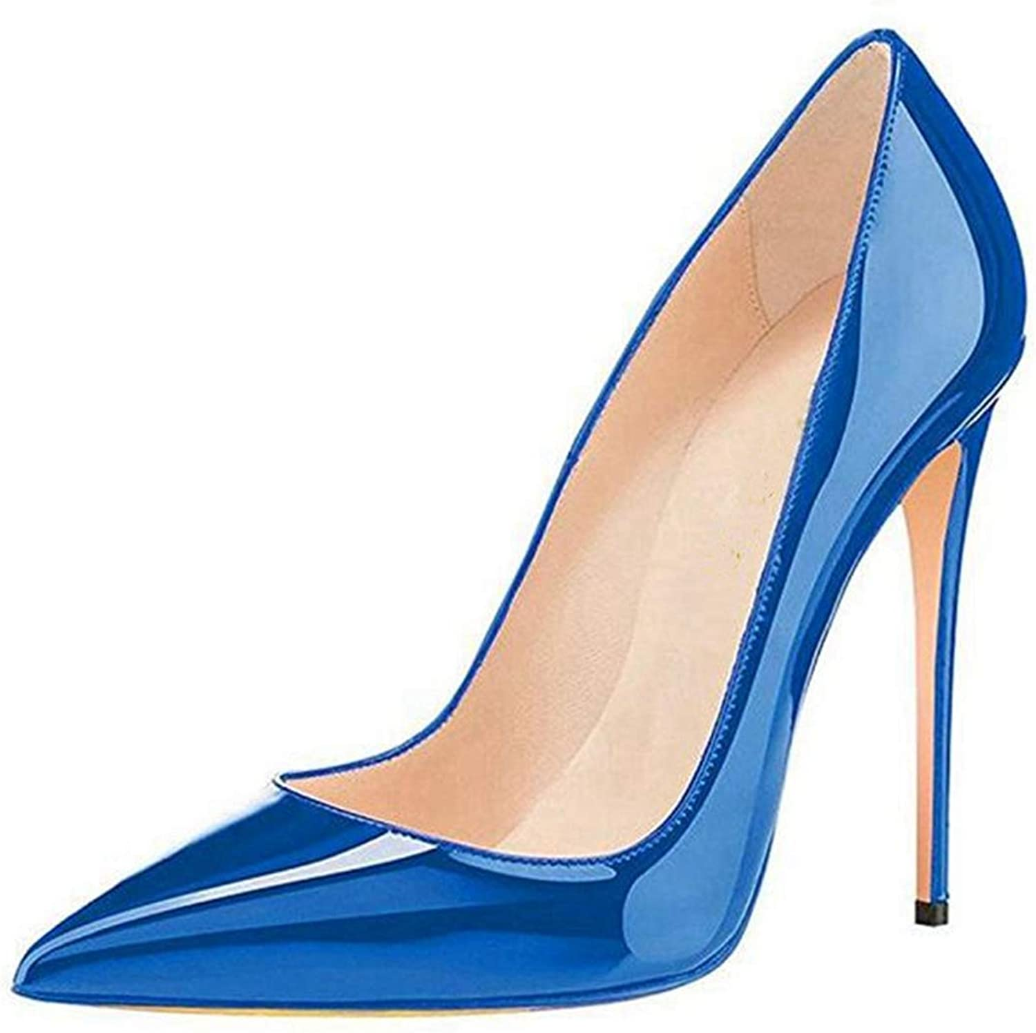 Ladies High Heel shoes bluee Elegant Heeled Sandals Women Pointed Toe Slip-on Sandal
