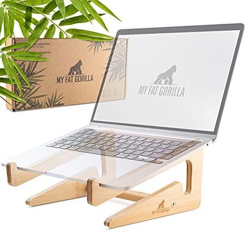My Fat Gorilla Soporte para ordenador portátil de bambú, ergonómico, estable, universal, mejor flujo de aire gracias al efecto de disipación de calor, compatible con 10-15 pulgadas