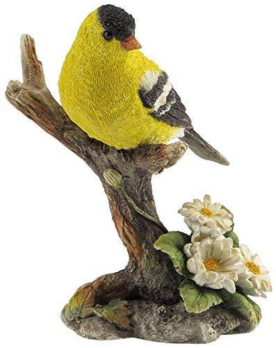 US 4.5 Inch Goldfinch Bird on Branch Decorative Statue Figurine, Yellow