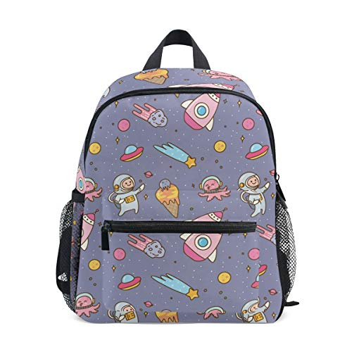 Space Rocket Astronaut Toddler Backpack Bookbag Mini Shoulder Bag for 1-6 Years Travel Boys Girls Kids with Chest Strap Clip Whistle