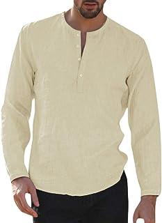 HX fashion Camisa De Lino De Hombre Camisa Camisa Casual Para Tamaños Cómodos Hombre Camisa Holgada De Playa Cuello Redond...