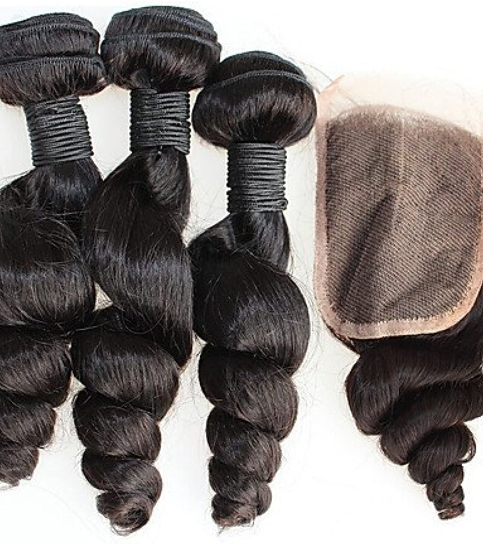 JFF  brasilianische lose Welle mit Verschluss brasilianische Haarwebart Bündel 4pcs brazillian Haar mit Verschluss reines Haar