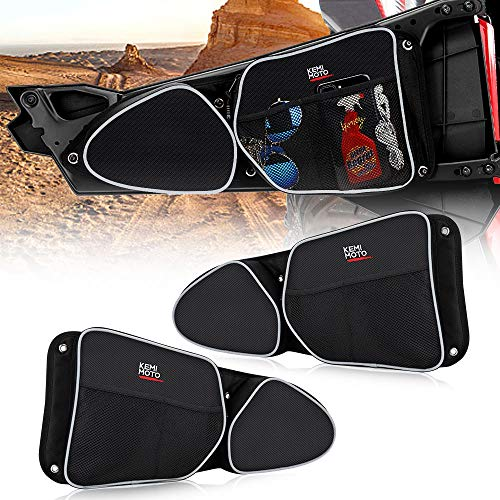Side Door Bags for Polaris RZR, KEMiMOTO UTV Front Door Driver and Passenger Side Storage Bag Set with Knee Pad for 2014-2018 Polaris RZR XP 1000 900XC S900(See Video for Instruction)