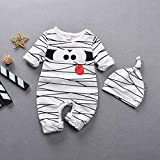 N/F Baby Boy Rompers Newborn Infant Baby Girls Boys Cartoon Stripe Romper + Hat Outfits Costume Set Baby Halloween Clothes