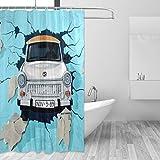 FANTAZIO Duschvorhang Graffit Auto Polyester Bad Vorhang mit dicken C-Form Haken für Badezimmer wasserdicht langlebig & super wasserdicht 182,9 x 182,9 cm
