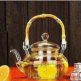 HYY-YY - Set da tè in Vetro con bollitore, 600 ml, in Vetro borosilicato, Comodo riscaldato, Trasparente, da Ufficio
