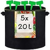 5 Sacs de Plantation en Geotextile 20L avec 5 Étiquettes - Avec Poignées - Sac pour Plantes, Herbes, Fleurs, Fraises