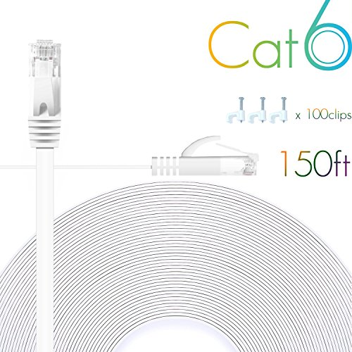 Cat 6 Ethernet Cable 150 FT Flat Internet Network Cables with Cable Clips Cat6 Ethernet Patch Cable with Snagless Rj45 Connectors White Long Computer LAN Cable?150FT?