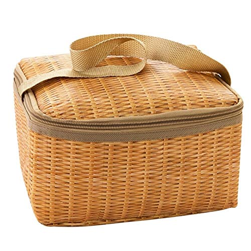 ZANGAO Tragbare Isolier-Cooler Lunchbox for Kinder Leinwand Imitation Rattan Lunchbox Tasche Nahrungsmittelbehälter Bento Box for Picknick (Color : Natural)