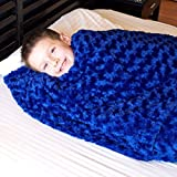 Huggaroo 7 lb Weighted Blanket – Weighted Lap Pad – Weighted Throw – Weighted Lap Blanket – Perfect for Sleeping and Relaxing – Machine-Washable – Chenille, Soothing Blue