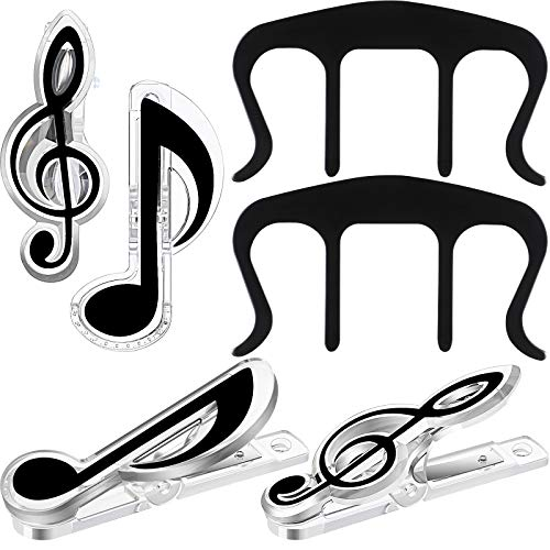8 Pieces Music Clips Page Holder 6 Plastic Music Note Clips Plastic Music Stationery Book Clip 2 Metal Music Book Page Clip Music Holder Clip for Paper Piano Keyboard Stands Books