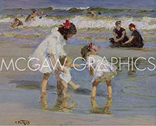 Children Playing at the Seashore by Edward Henry Potthast, Art Print Poster 14