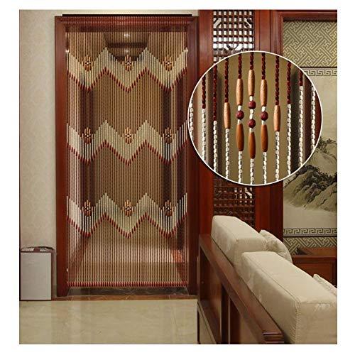 LIQICAI Holz Perlen Vorhang Türvorhang Balkon Perlenvorhänge for Fenster Türen Raumteiler Perlenschnur -41 Stränge (+ Hängende Hardware) (Color : B, Size : 90x195cm)