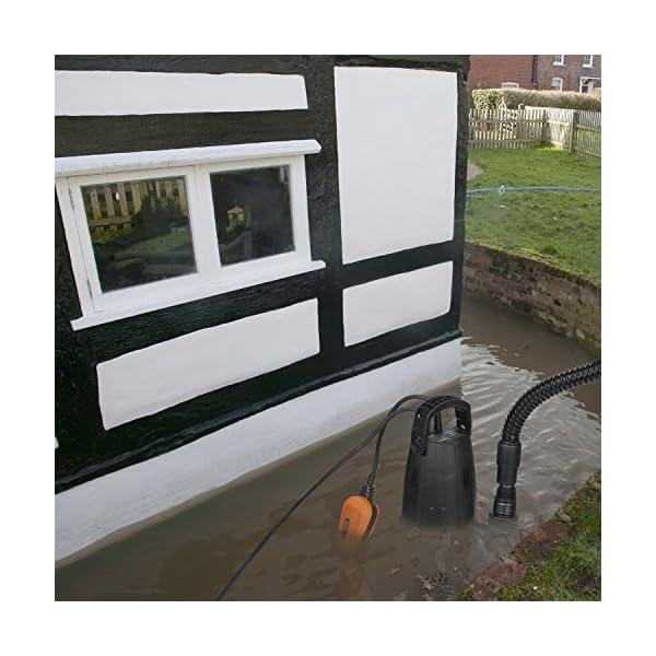 TACKLIFE Bomba de Aguas Residuales, bomba de vacío de piscina cargada de 400 W, 9000 L/H, Altura de 5 M, Profundidad de…