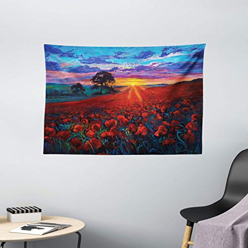 N\A Country Tapestry, Scenery of Poppy Flower Garden on Valley with Horizon Fairy Clouds at Sunset Paint, Wide Wall Hanging for Bedroom Living Room Dorm, Vermilion Blue
