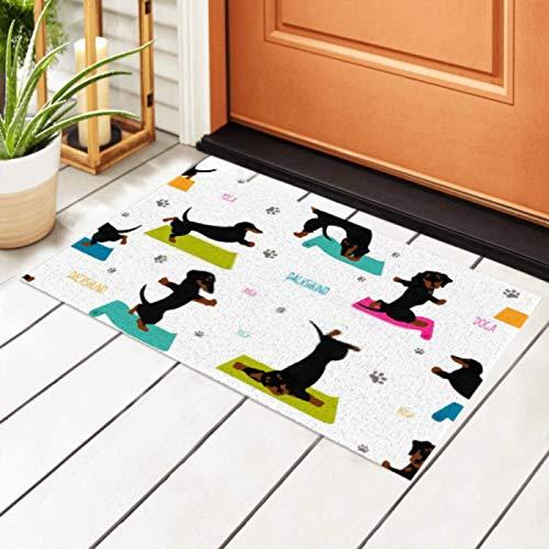 Felpudo para interiores, yoga, perros, poses, ejercicios, perro salchicha, sin costuras, antideslizante, alfombra de entrada, alfombra de bienvenida para puerta delantera para cocina, baño, dormitori