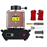 CO-Z 1900W Gold Electric Smelting Furnace with Mesh Guard, 2100F Digital Metal Melting Machine, Ingot Smelter Casting Kit with Gold Silver Copper Bronze Lead Melter Pot Crucible & Tong, 2kg 4.4lb Cap