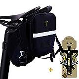 1DOT2 Fahrrad Satteltasche mit Flaschenhalter 1,98L erweiterte Kapazität reflektierend kompakt verschleißfest wasserdicht für Mountainbike Rennrad 23*12*14cm Unisex schwarz
