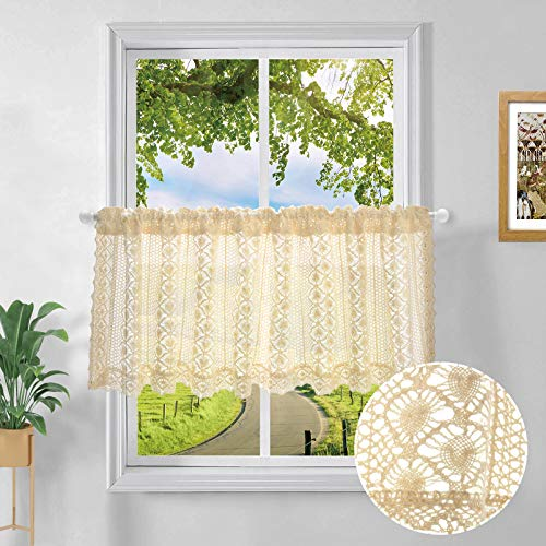 Beige Crochet Valance for Window Pastoral Macrame Valances for Window Decor Embroidery Hollow Curtain Valances for Kitchen Cafe Bistro Decor Exquisite Window Decoration 12 by 59 inch