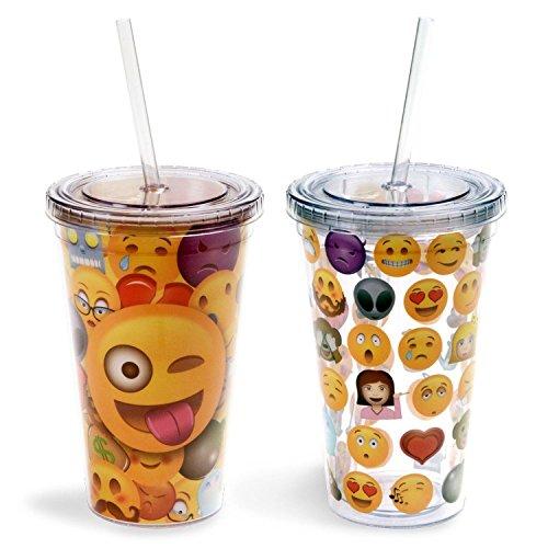 Emoji-Universe: Emoji-Becher, 473 ml (2er-Pack) mit Deckel und Strohhalmen