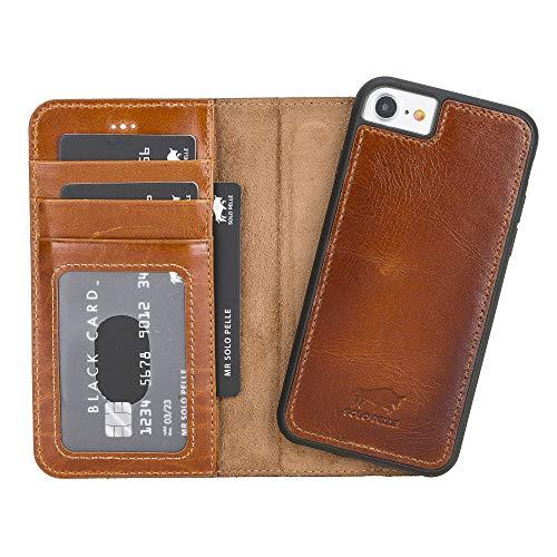 Solo Pelle iPhone SE 2020/7 / 8 abnehmbare Lederhülle (2in1) inkl. Kartenfächer für das original iPhone 7/8 (Cognac Braun Burned) inkl. Edler Geschenkverpackung