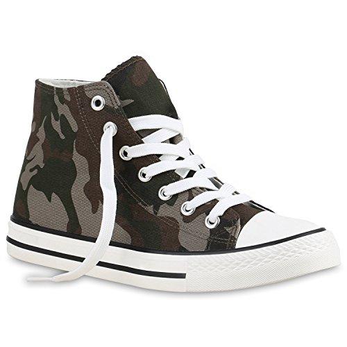 stiefelparadies Herren Sneakers Sneaker High Denim Turn Camouflage Stoff Schnürer Schuhe 135178 Camouflage Braun 36 Flandell