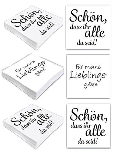 Bada Bing 6er Set Mit 120 Stück Servietten Spruch Weiß Edel Papierservietten Schön das Ihr alle da seid