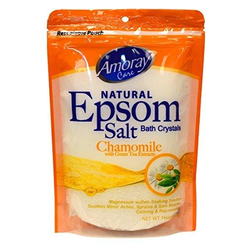 Amoray Epsom Salt Bag 16Oz Chamomile With Green Tea Extract 3-Pack
