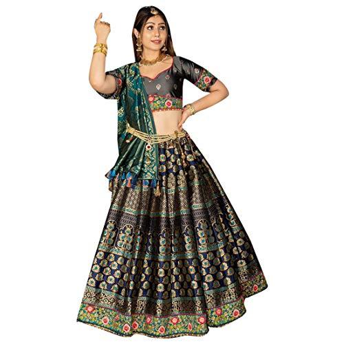 Bridal Banarasi Silk Lehenga Choli Ghagra Girl Skirt Top Rock Designer Wedding Kleid mit Dupatta Frauen traditionelle Hochzeit indische Frau...