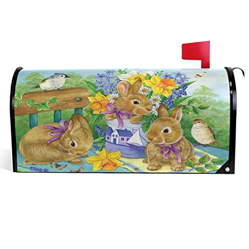 Wamika Cute Rabbits Easter Bunny Mailbox Covers Magnetic Spring Birds Flowers Butterfly Mailbox Cover Summer Mailbox Wraps Post Letter Box Cover Garden Decorations Standard Size 18