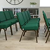 Flash Furniture HERCULES Series 21''W Stacking Church Chair in Hunter Green Dot Patterned Fabric - Gold Vein Frame