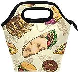 Bolsa de almuerzo con cremallera aislada de comida rápida Bolsa de asas más fresca para adultos, adolescentes, niños, niñas, niños, hombres, mujeres, hamburguesas, pizza, loncheras, loncheras, prepar