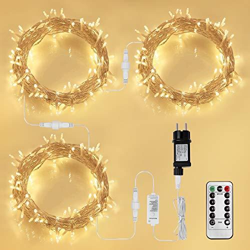300 LED Lichterkette Steckdose, KooPower 30M Lichterkette Strombetrieben mit EU Stecker, 8 Modi, Dimmbar, Erweiterbar, Wasserdichte IP44, Fernbedienung, Timer, für Party, Zimmer, Innen, Warmweiß