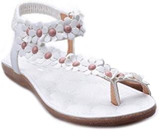 Inlefen Bohemia sandals Women's summer Beach Flip Flops Flower Flat shoes