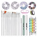 Qagazine Kit de arte de uñas, set de herramientas de diamantes de imitación con cinta de rayas y 15 bolígrafos de arte y 5 punteadores juego de pinceles de polvo de uñas para mujer