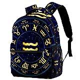 Daypack Acuario del Zodiaco Mochila Infantil Impermeable Bolsa para la Escuela Impresión Creativa Mochila de Viaje para Niños y Niñas 29.4x20x40cm