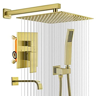 KOJOX 12 Inch Shower System with High Pressure Rainfall Shower Head, Handheld Shower Head, Bathtub Faucet Trim Kit and 3 Function Shower Faucet valve Bathroom Luxury Rain Mixer Shower Set Brushed Gold