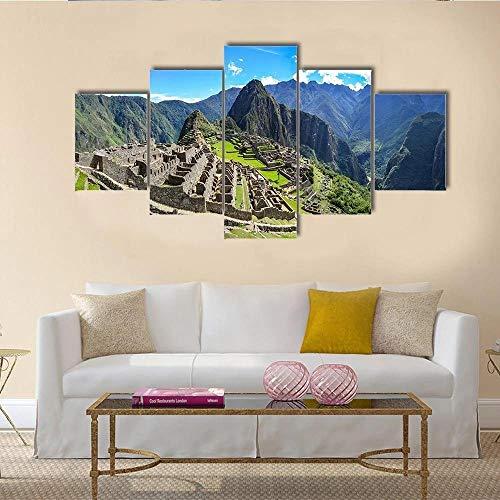 JJJKK Impresiones sobre Lienzo,Modular Decoración De Pared Póster,5 Piezas Cuadro,con Marco,Ciudad de Machu Picchu en la montaña de los Andes peruanos,150 X 80CM,Regalo