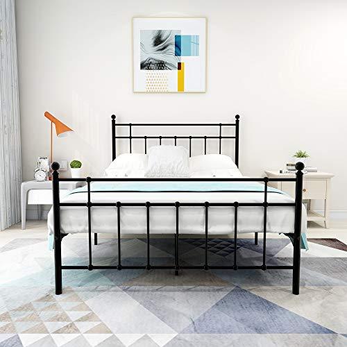 Elegant Home Products Metal Bed Frame Platform with Steel Headboard and Footboard Mattress Foundation Bedroom Furniture No Box Spring (Black, Full)