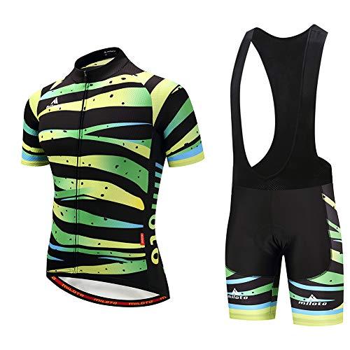 Ydshyth Maillot de Ciclismo para Hombre Manga Corta Ropa Bicicleta Mountain Bike/MTB Shirt Transpirable y Que Absorbe El Sudor Secado Rápido,B,XL