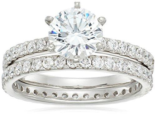 Juego de anillos redondos de plata de ley chapados en platino o oro con circonitas de Swarovski,plateado (Platinum Plated Silver),Size 8