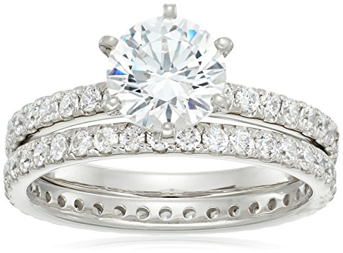 Platinum-Plated Sterling Silver Round Ring Set made with Swarovski Zirconia (1 Carat Center Stone), Size 8