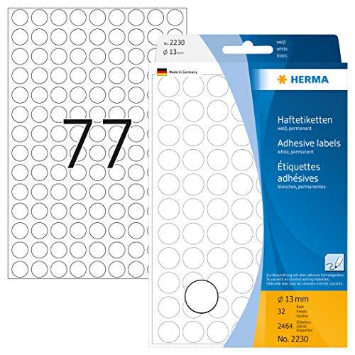 HERMA 2230 Vielzweck-Etiketten / Farbpunkte rund (Ø 13 mm, 32 Blatt, Papier, matt) selbstklebend, permanent haftende Markierungspunkte zur Handbeschriftung, 2.464 Klebepunkte, weiß