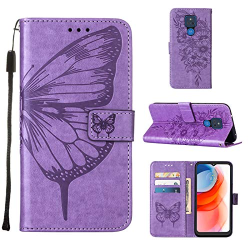 Compatible with Moto G Play 2021,Anti-Scratch Wallet Case Butterfly Embossed PU Leather Magnetic Clasp Case with Flip Stand and Card Slots Holder Shockproof Case (Moto G Play 2021, Lavender)