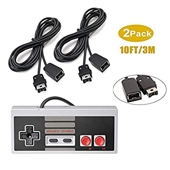 NES Classic Controller Extension Cable 2 Pack of 3M/10 Feet Extension Cord with 1 NES Mini Classic Controller for SNES Classic NES Classic Wii Wii U Controllers and More