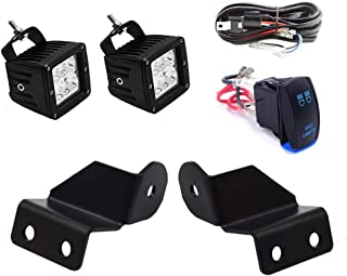 Dasen Pro-Fit Cage Mount Brackets & 2x 18W LED Cube Lights w/Wiring Kit Fit Polaris Ranger 500 570 900 1000 XP 2013-2019 (Without any drilling/cutting)