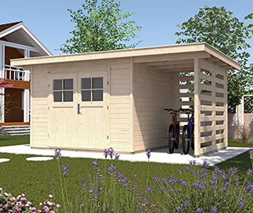weka Gartenhaus 179 A Gr. 3, natur, 28 mm, DT, Anbau 150 cm