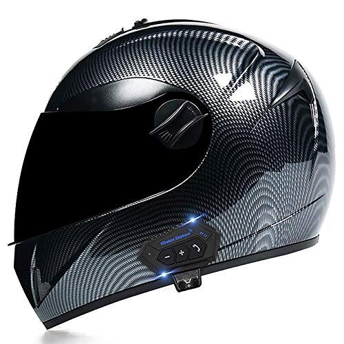 Casco Moto Integral Homologado ECE Casco de Moto con Bluetooth Integrado Casco de Motocicleta Scooter con Visera Solar Doble para Hombre y Mujer Adulto Diseño Ligero C,S